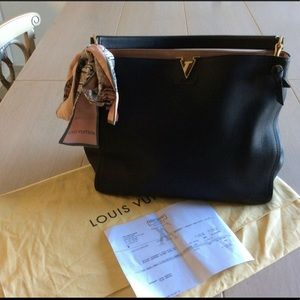 AU LV Tournon Black Calfskin Leather Tote w/Scarf